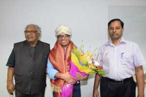 Prof. C.N.R. Rao, Prof. Tapas K. Maji and Prof. A. Sundaresan at the CPMU Special Seminar delivered by Prof. Maji followed by felicitation programme held on September 27, 2019 at Nevill Mott Hall, JNCASR.